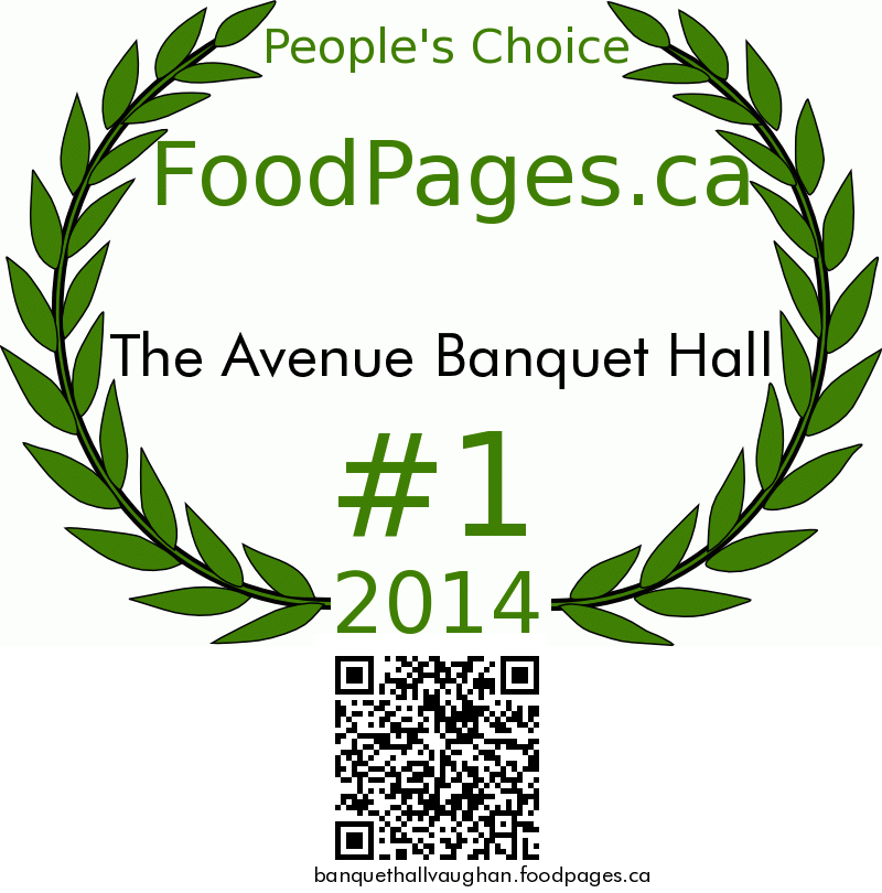 The Avenue Banquet Hall FoodPages.ca 2014 Award Winner