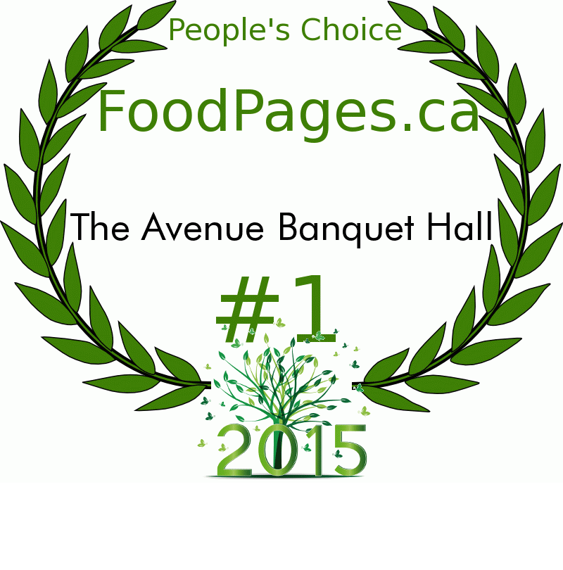 The Avenue Banquet Hall FoodPages.ca 2015 Award Winner