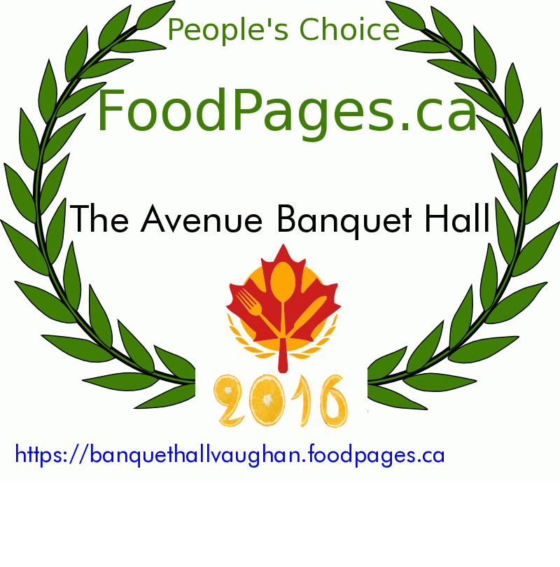 The Avenue Banquet Hall FoodPages.ca 2016 Award Winner